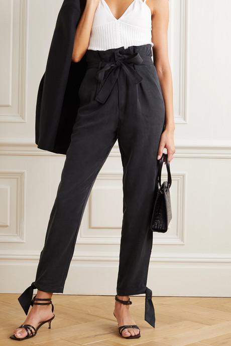 + NET SUSTAIN Avalon tie-detailed Tencel tapered pants