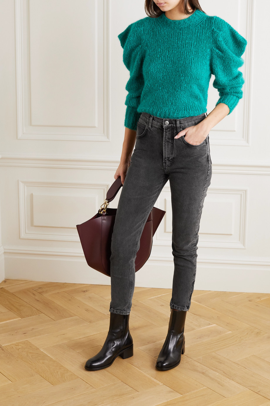 Reformation + NET SUSTAIN high-rise slim-leg jeans
