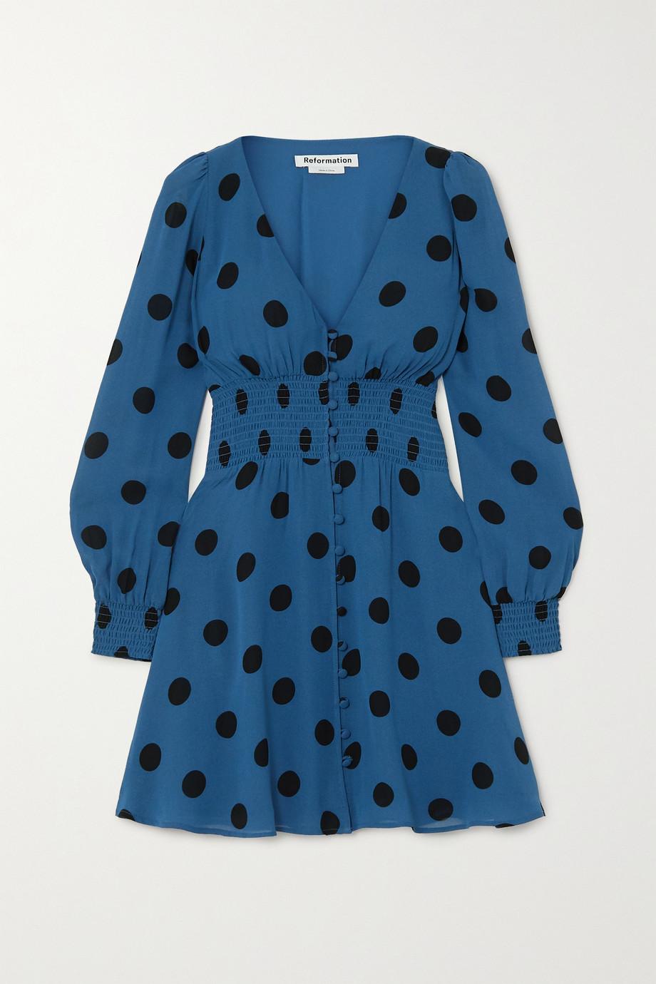 Reformation Mini-robe en georgette à pois et à smocks Alani