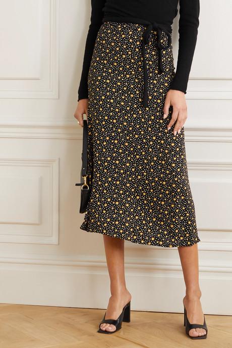 + NET SUSTAIN Bea floral-print crepe midi skirt