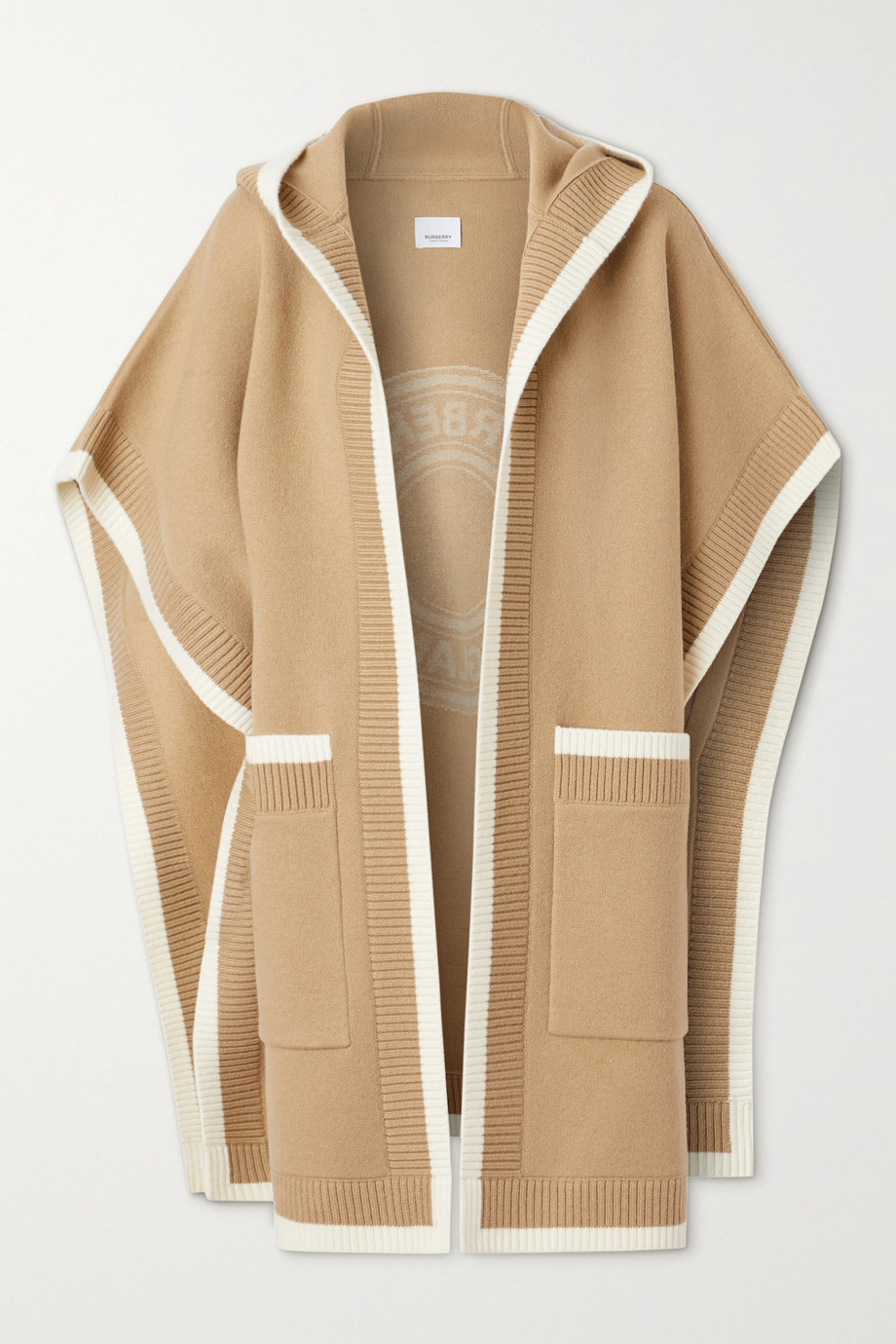 Burberry Hooded wool-blend jacquard cape