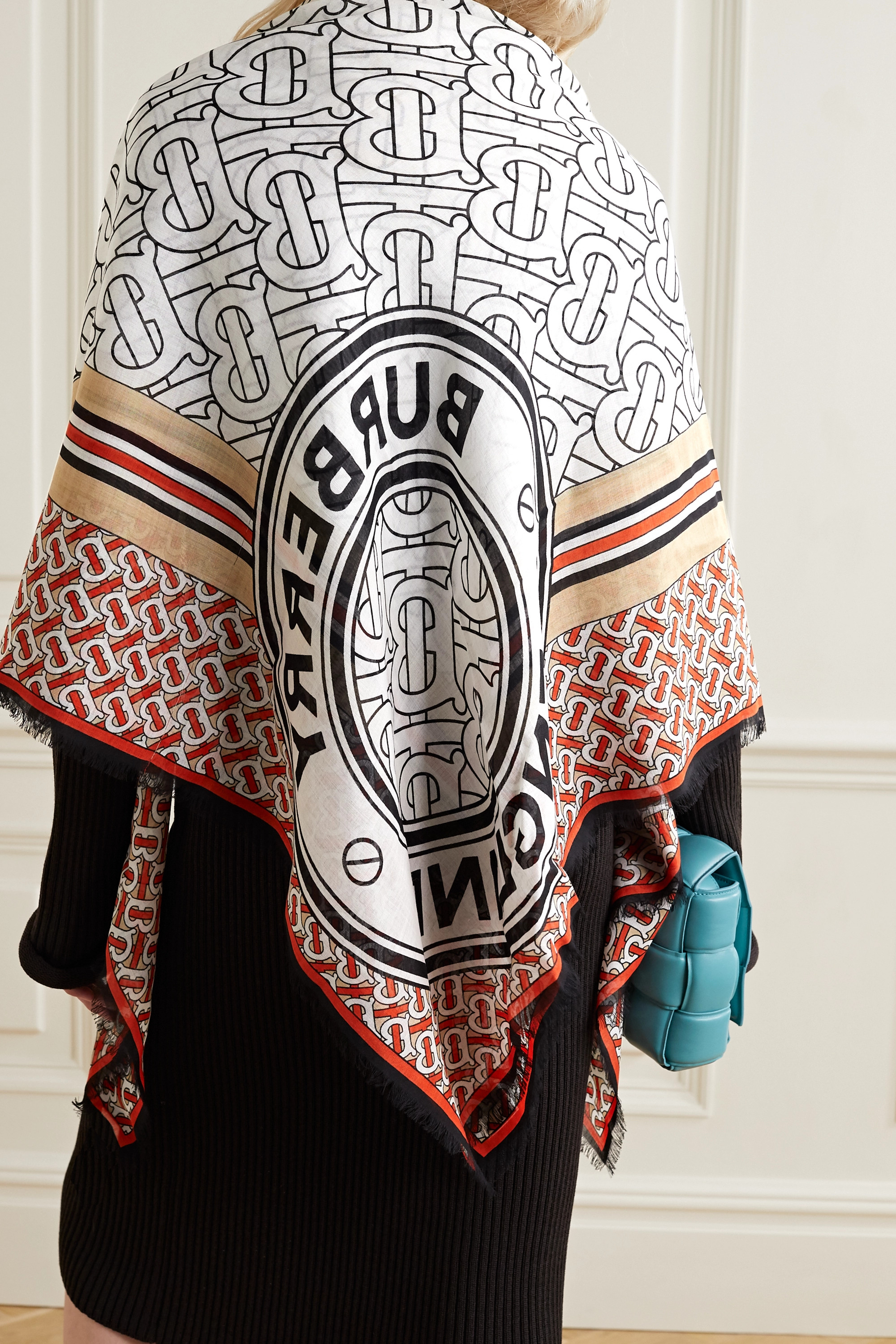 Burberry Printed wool and mulberry silk-blend voile scarf