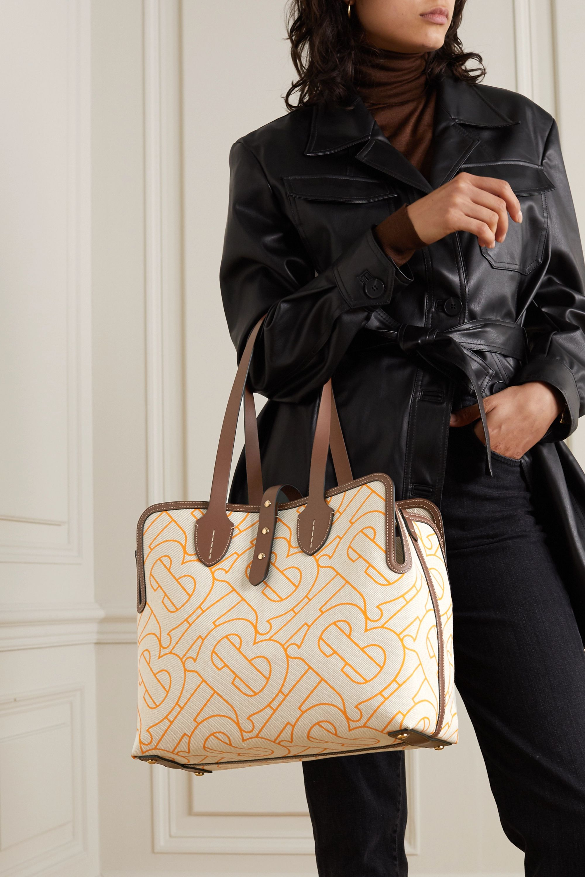 Burberry Leather-trimmed printed canvas tote