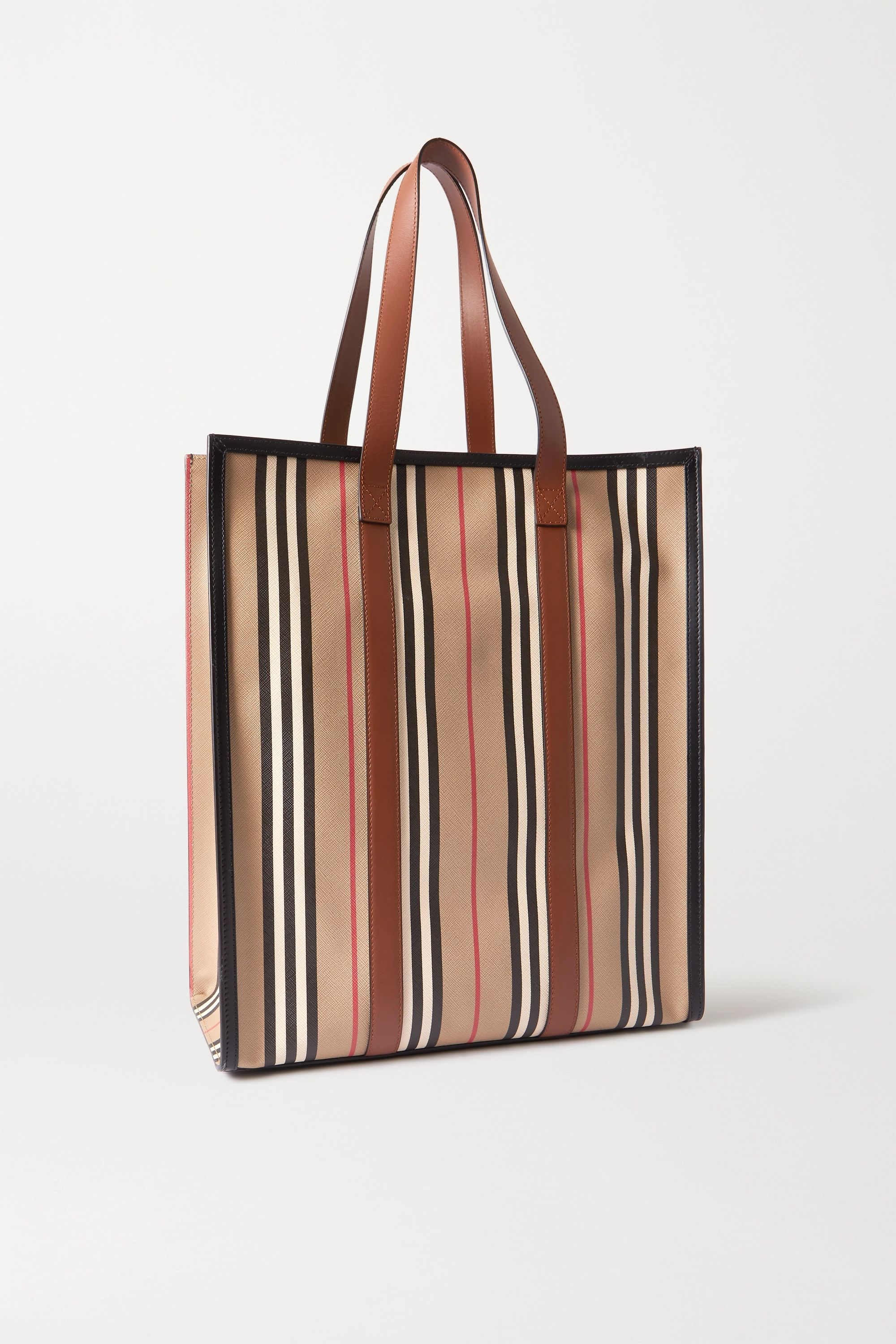 Burberry Leather-trimmed striped coated-canvas tote