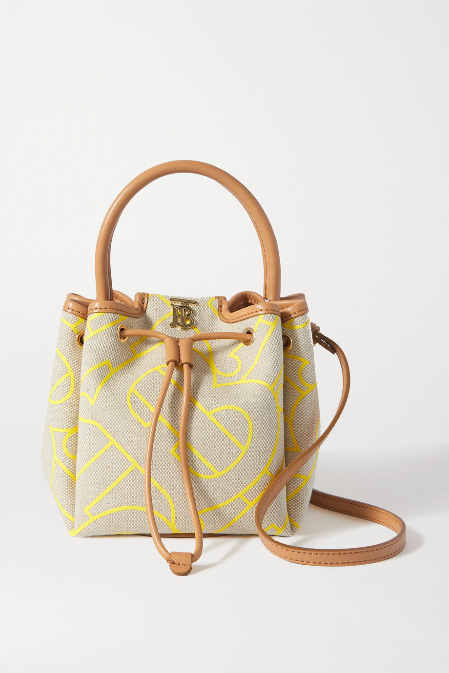 Burberry Small leather-trimmed printed canvas bucket bag
