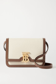 Burberry Mini leather-trimmed canvas shoulder bag