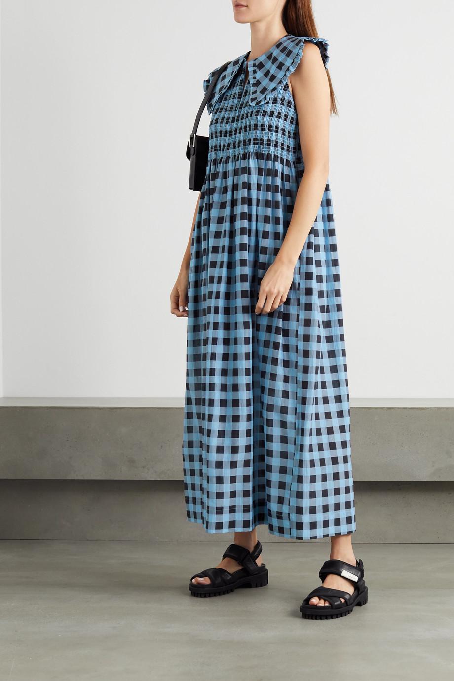 GANNI 皱褶装饰格纹棉丝混纺超长连衣裙