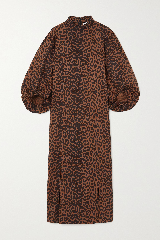 GANNI Robe midi en popeline de coton biologique à imprimé léopard -  NET SUSTAIN