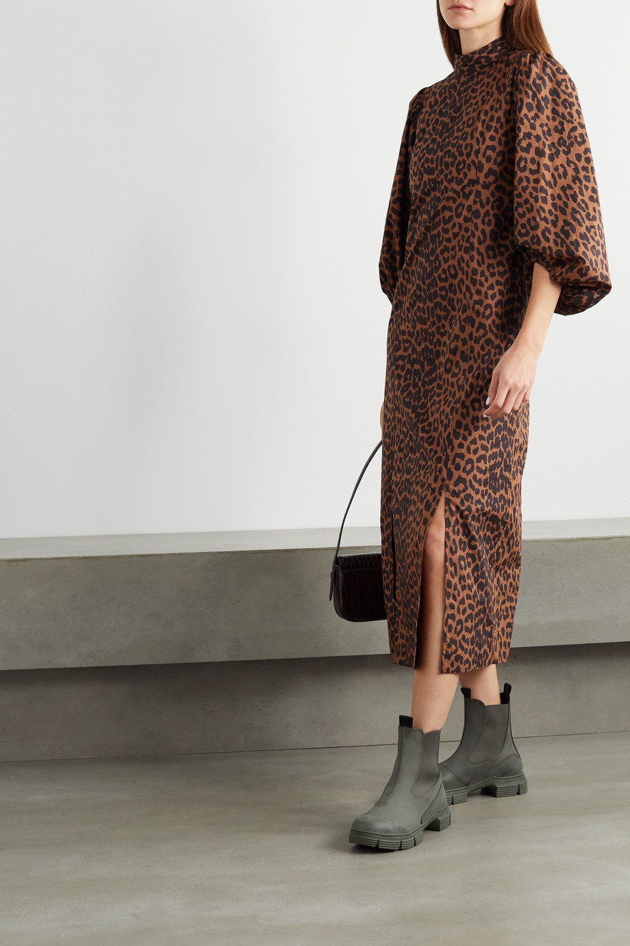 GANNI + NET SUSTAIN leopard-print organic cotton-poplin midi dress