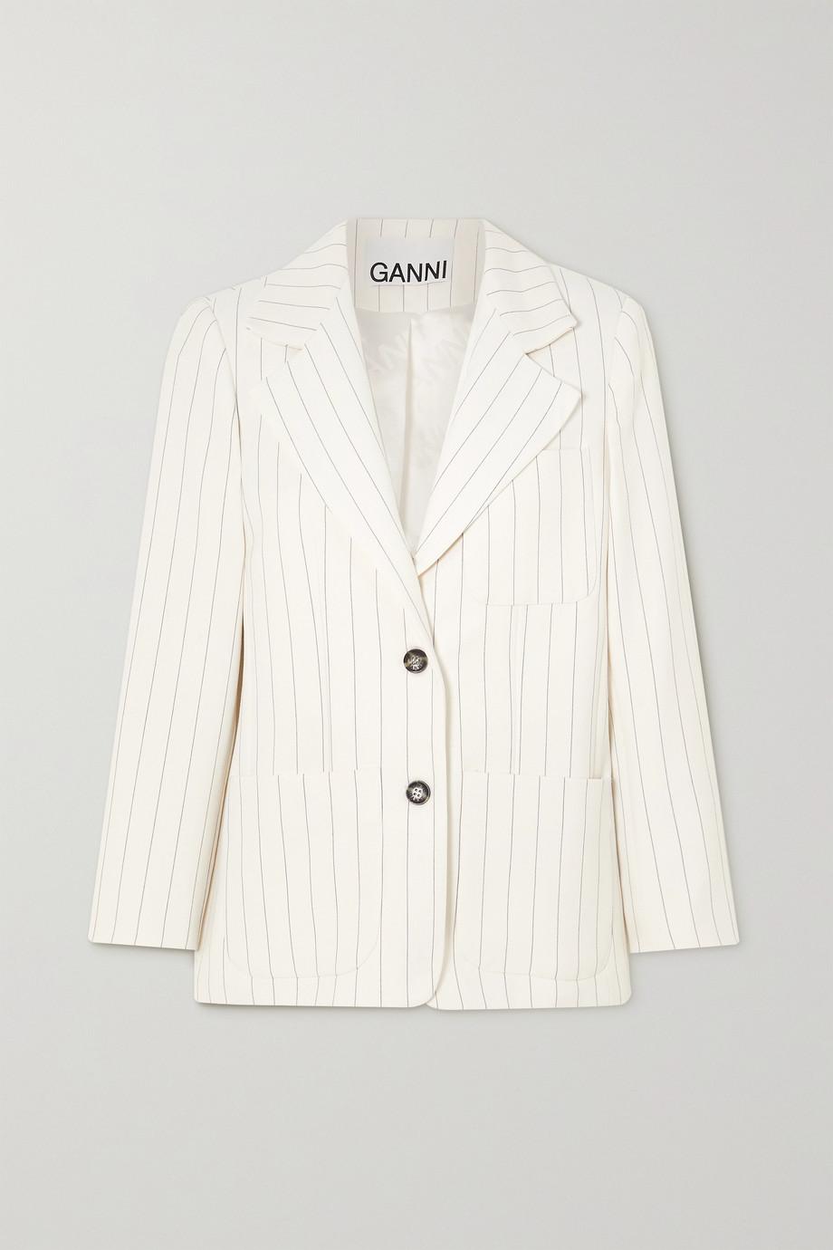 GANNI Pinstriped crepe blazer