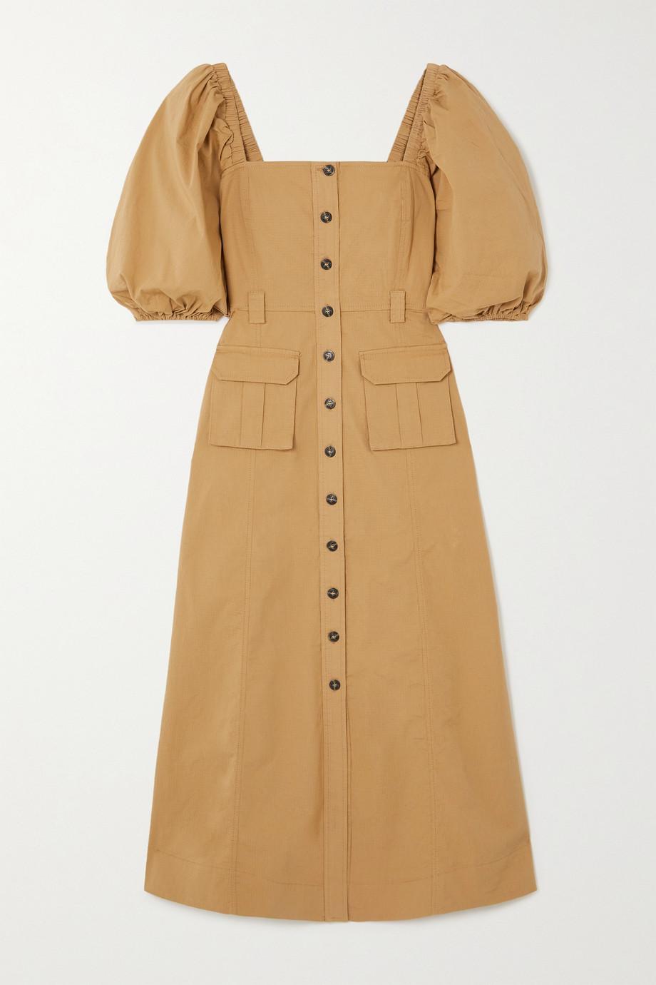 GANNI 棉质混纺格子布中长连衣裙