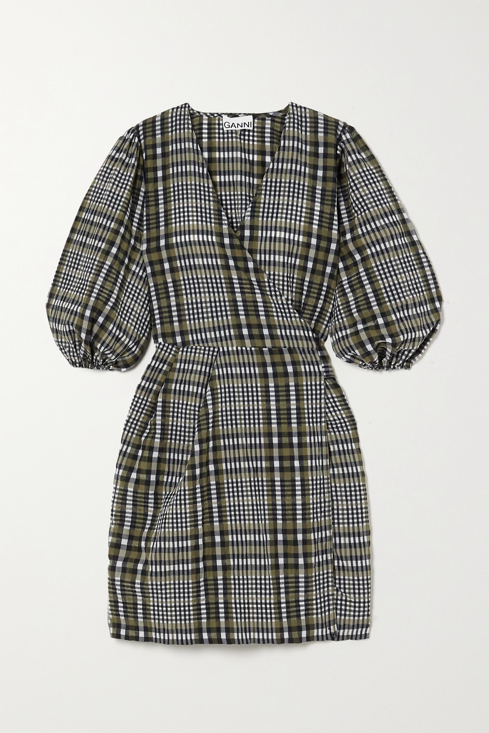 GANNI Checked cotton-blend seersucker mini wrap dress