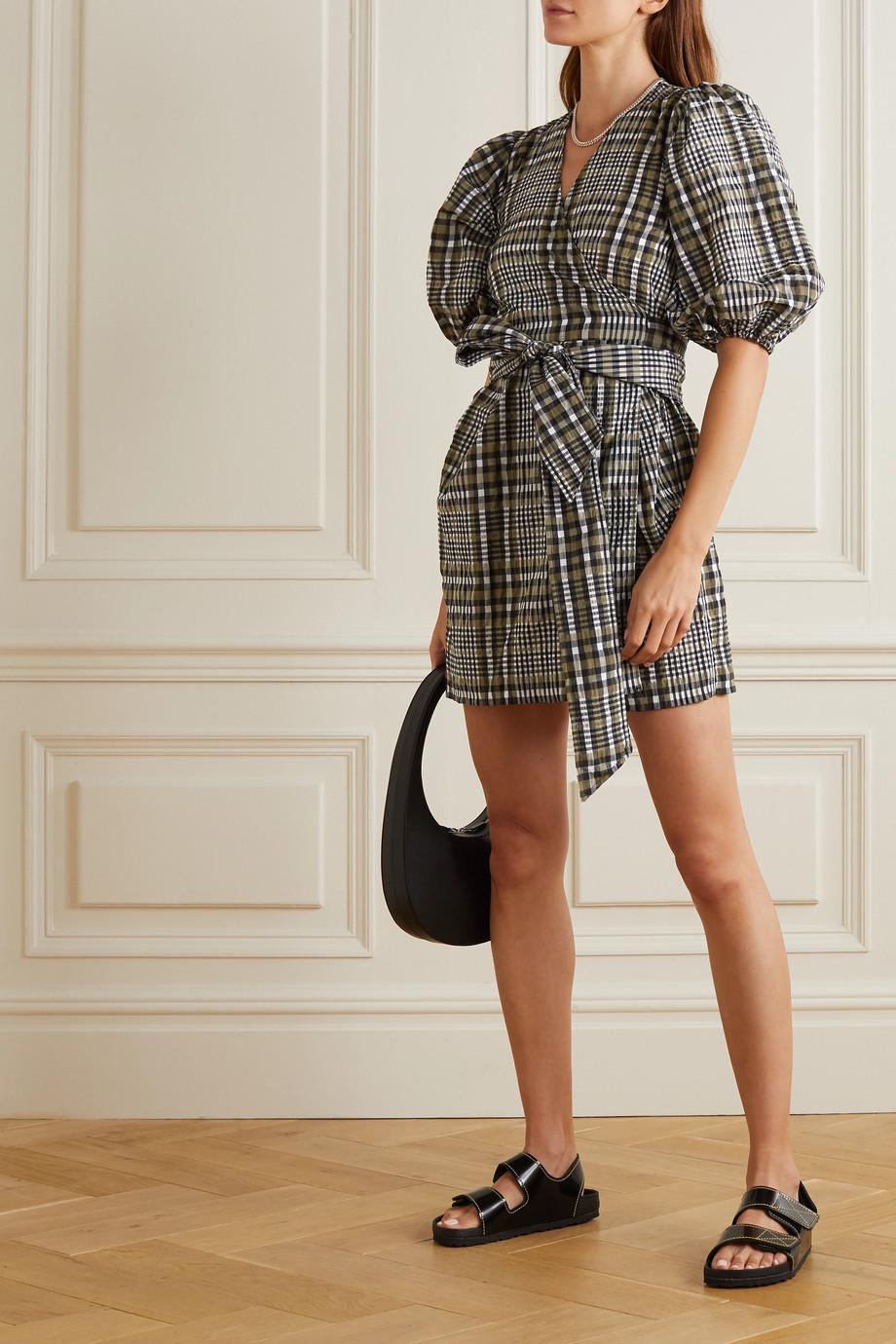 GANNI Checked cotton-blend seersucker mini wrap dress