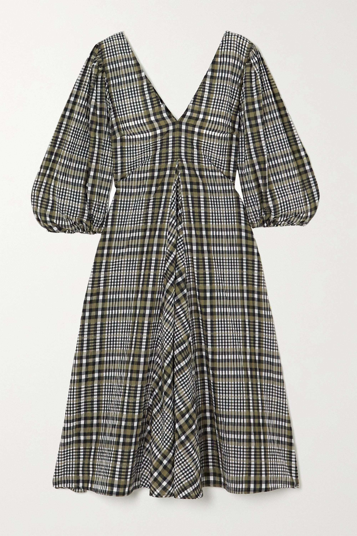 GANNI Checked cotton-blend seersucker midi dress