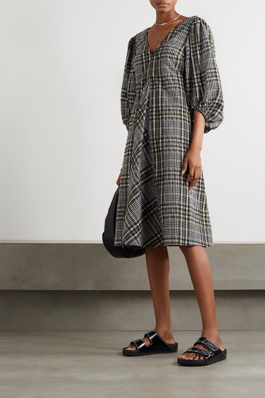 GANNI Checked cotton-blend seersucker midi dress