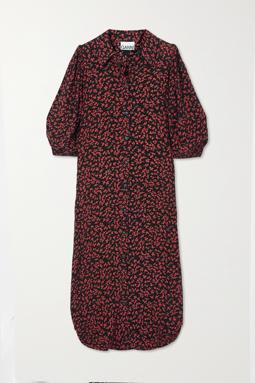 GANNI Robe-chemise midi en crêpe à imprimé fleuri