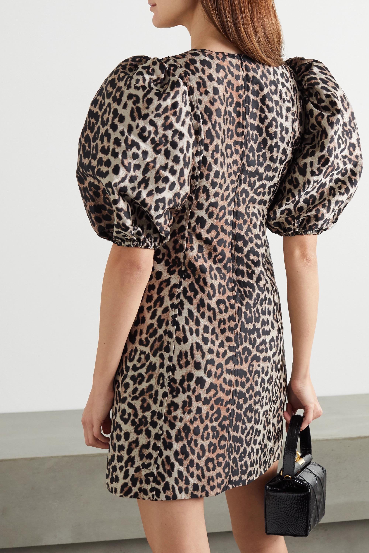 GANNI Mini-robe en jacquard léopard