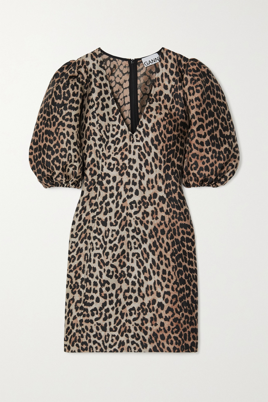 Ganni Leopard-jacquard mini dress,Leopard print