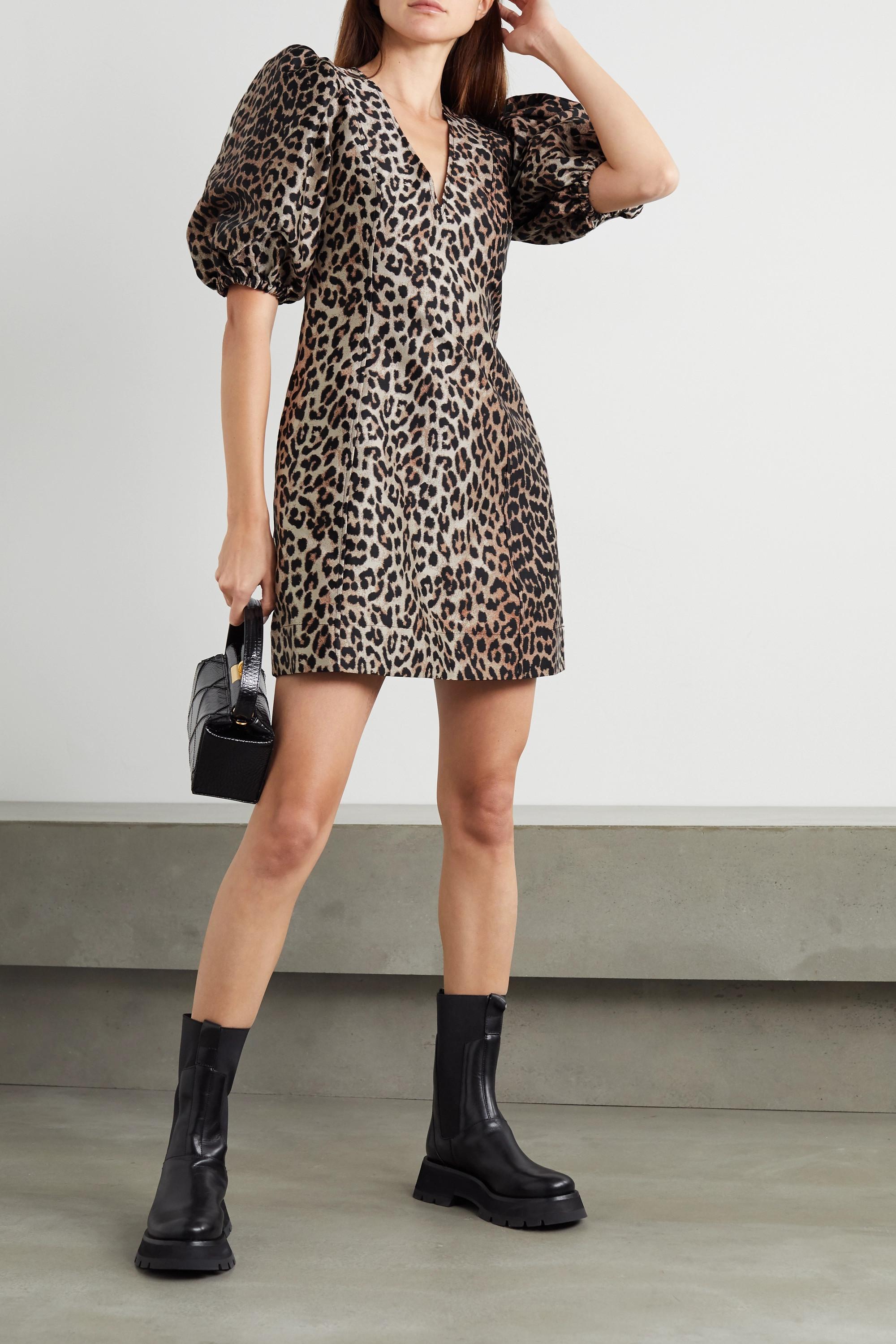 GANNI Minikleid aus Jacquard mit Leopardenmuster