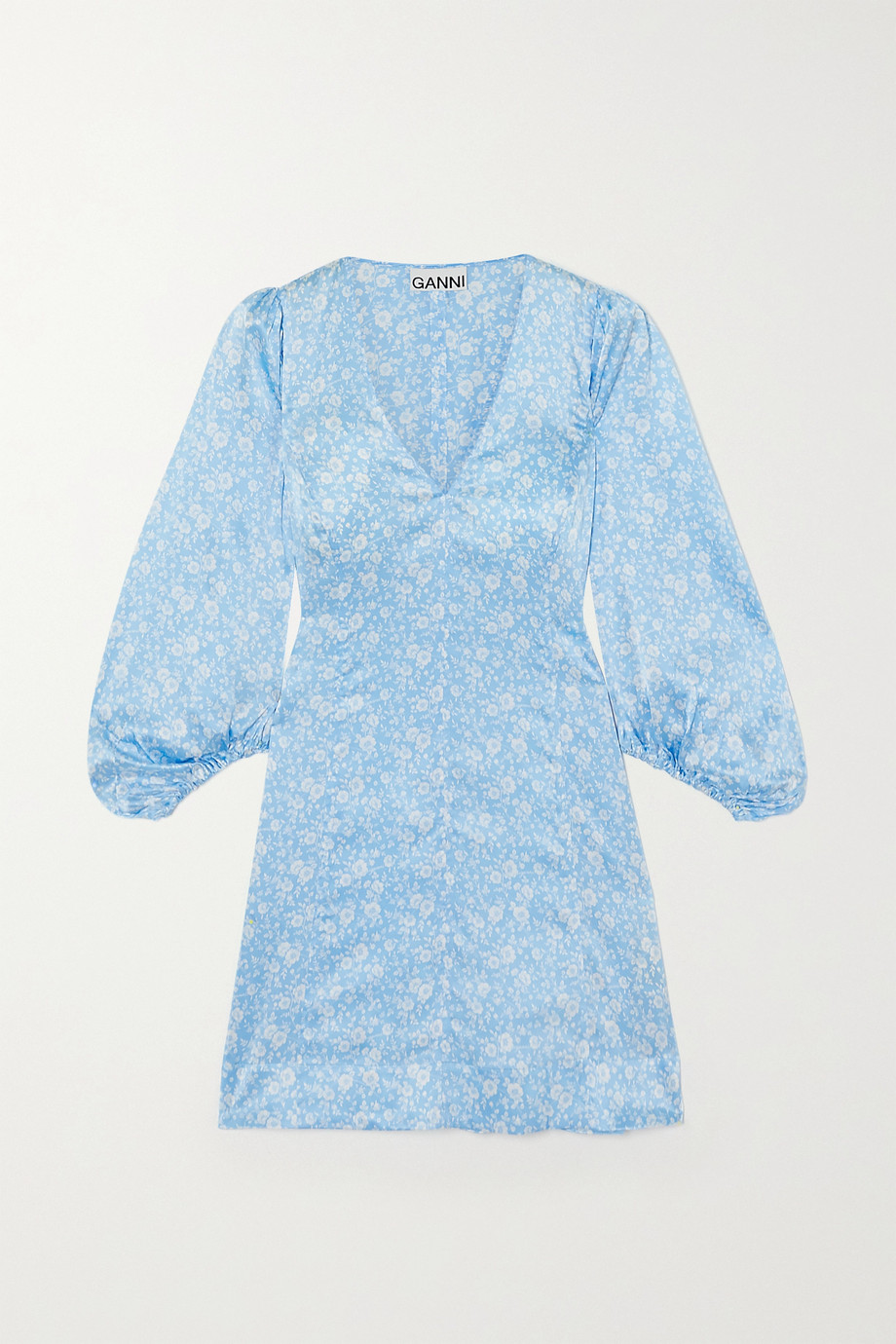 Ganni Floral-print stretch-silk satin mini dress,Blue