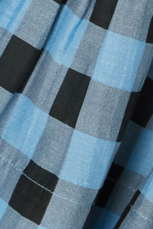 GANNI Oberteil aus einer karierten Baumwoll-Seidenmischung mit Raffungen und Schößchen