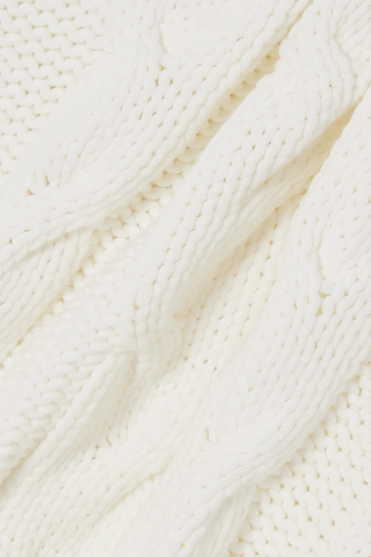 GANNI Ärmelloser Zopfstrickpullover aus einer Baumwollmischung mit Stehkragen und Streifen