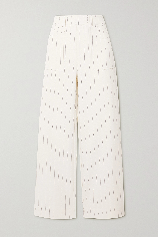 GANNI Pantalon droit en crêpe à fines rayures