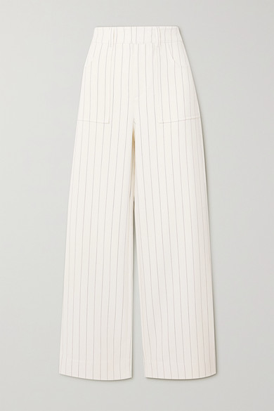 GANNI - Pinstriped Crepe Straight-leg Pants