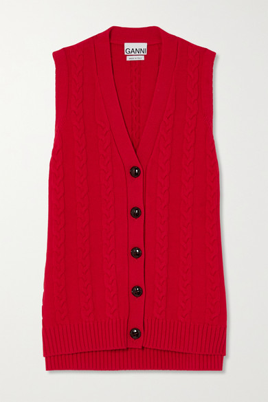 GANNI - Cable-knit Cotton-blend Vest - Red