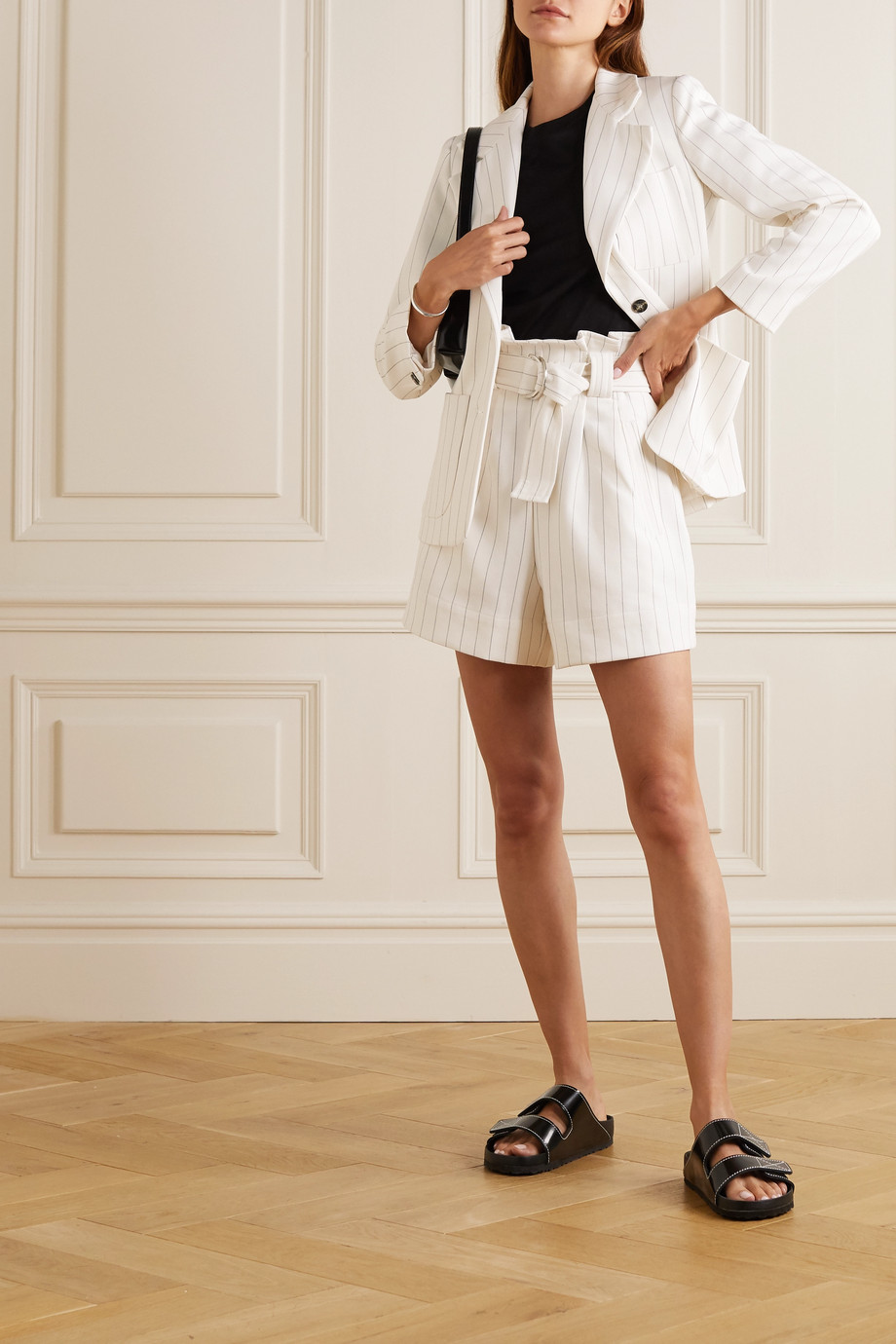 GANNI Belted pinstriped crepe shorts