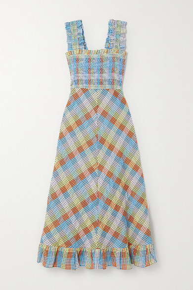 GANNI - Ruffled Smocked Checked Cotton-blend Seersucker Midi Dress - Light blue