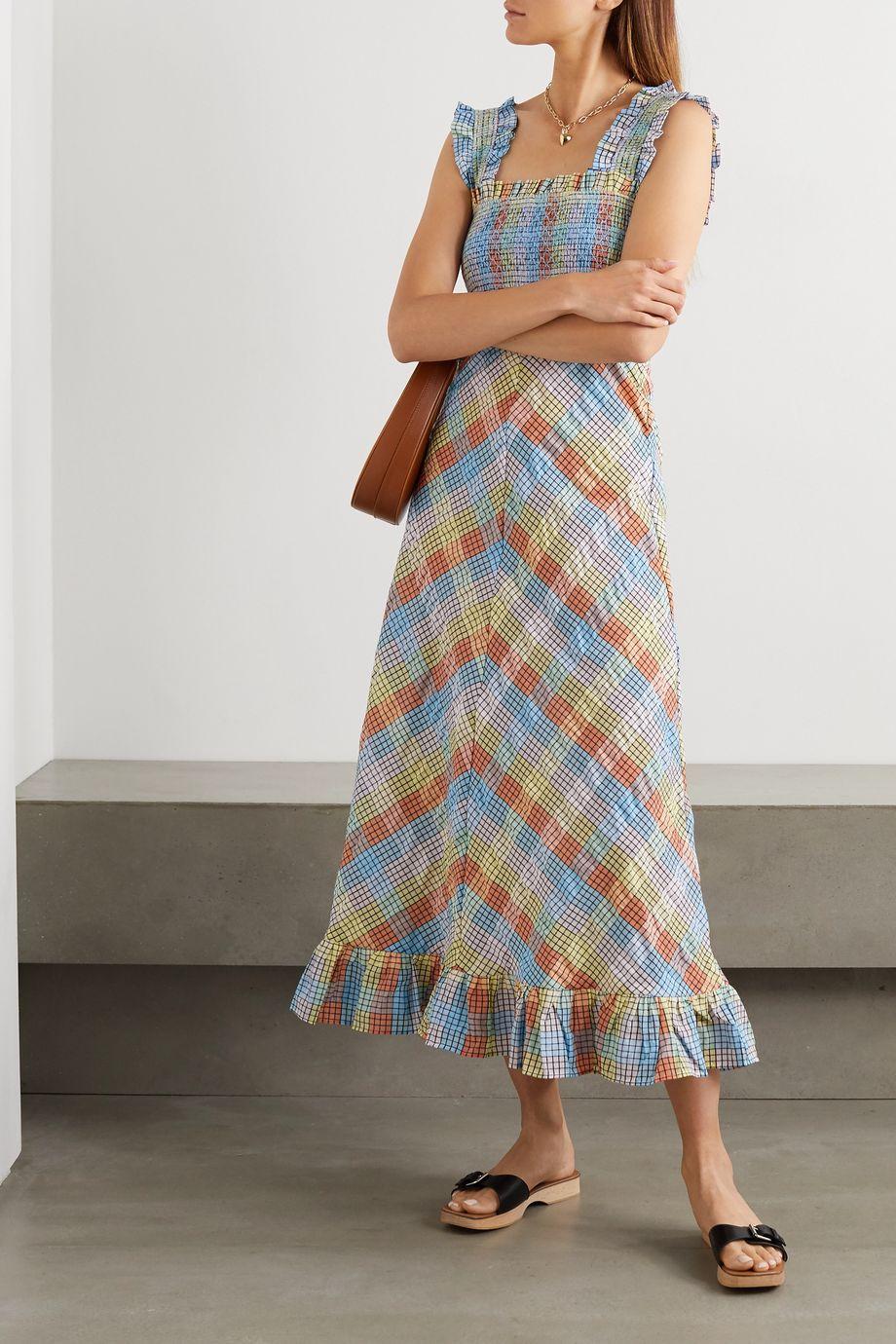 GANNI Ruffled smocked checked cotton-blend seersucker midi dress