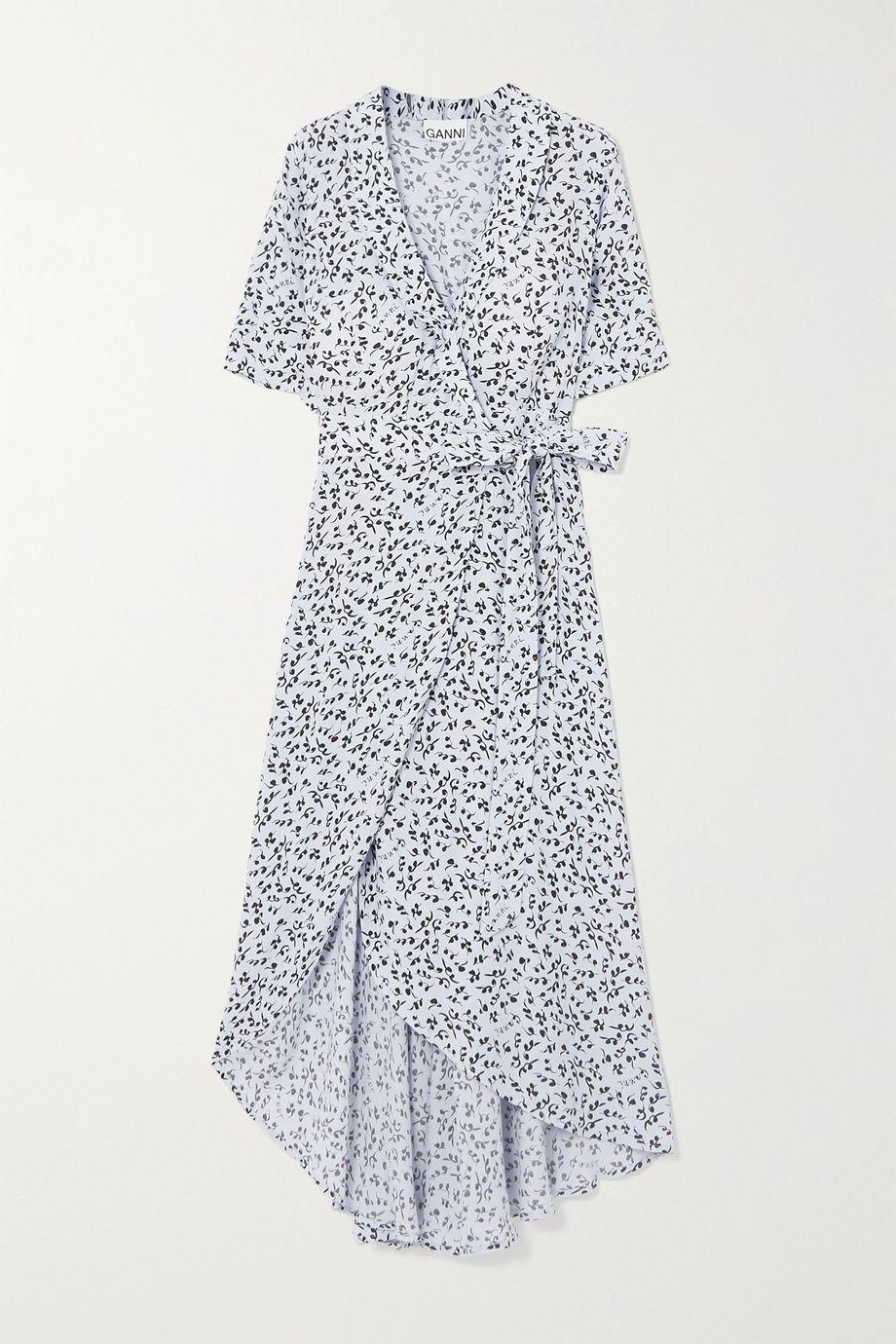 GANNI 花卉印花绉纱中长裹身连衣裙
