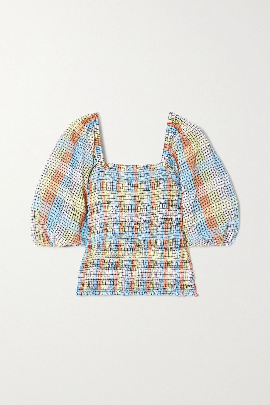 GANNI Shirred checked cotton-blend seersucker top