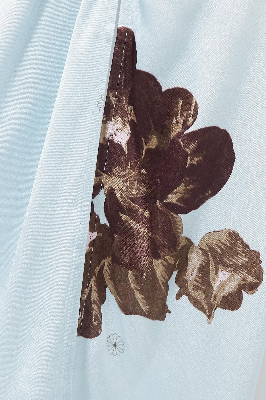 GANNI Jupe midi en satin à imprimé fleuri et à fronces