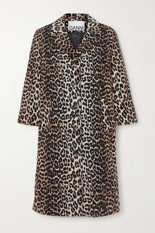GANNI Leopard-print linen and cotton-blend coat