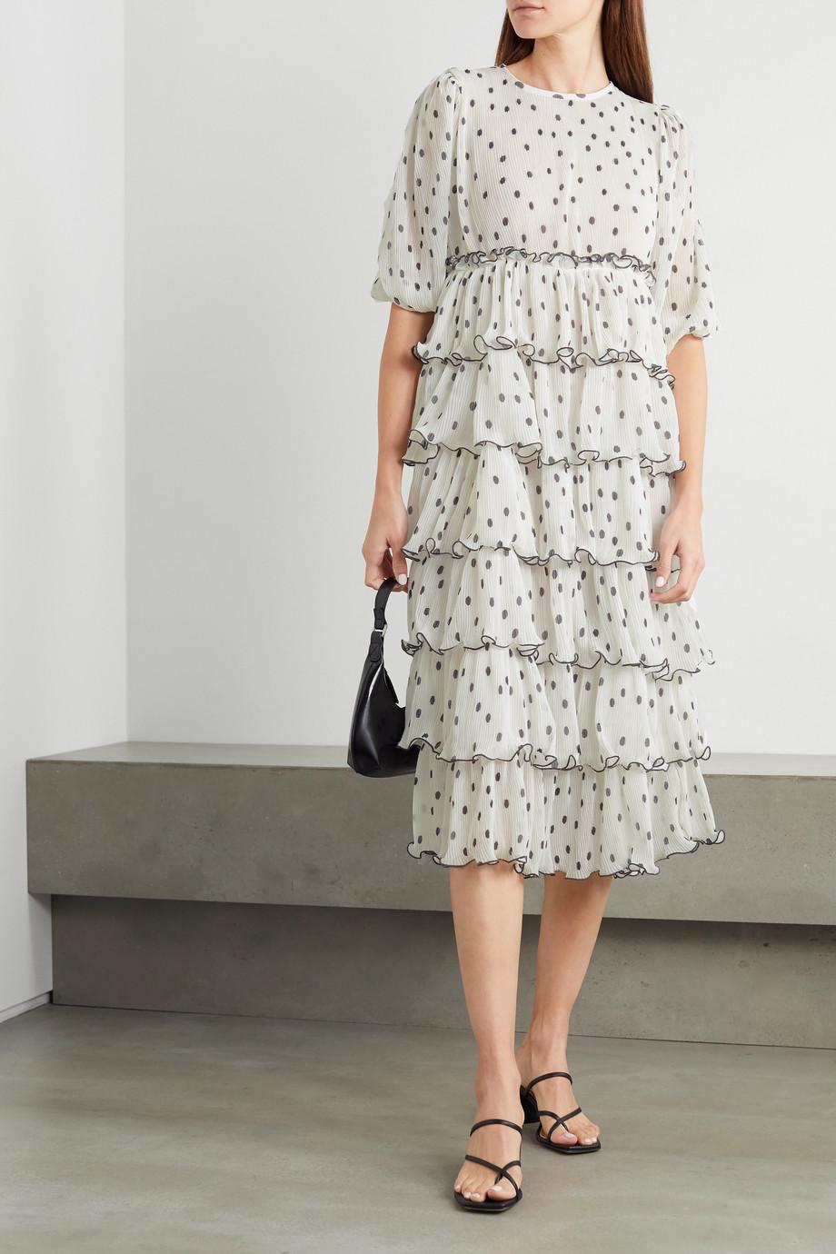 GANNI + NET SUSTAIN tiered polka-dot plissé-georgette midi dress