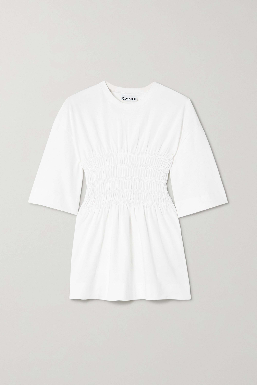 GANNI T-Shirt aus Biobaumwoll-Jersey mit Raffungen