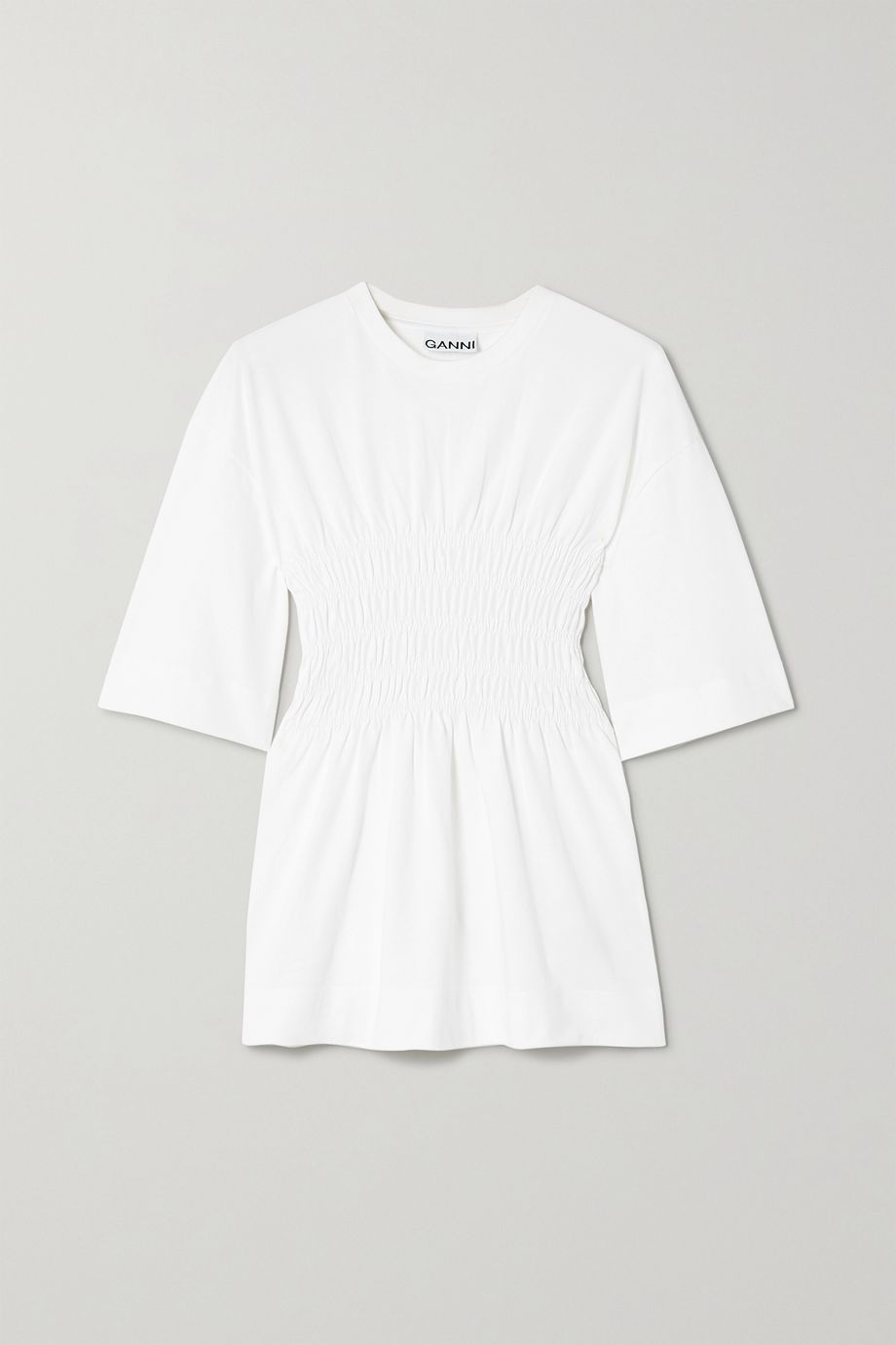 GANNI Shirred organic cotton-jersey T-shirt