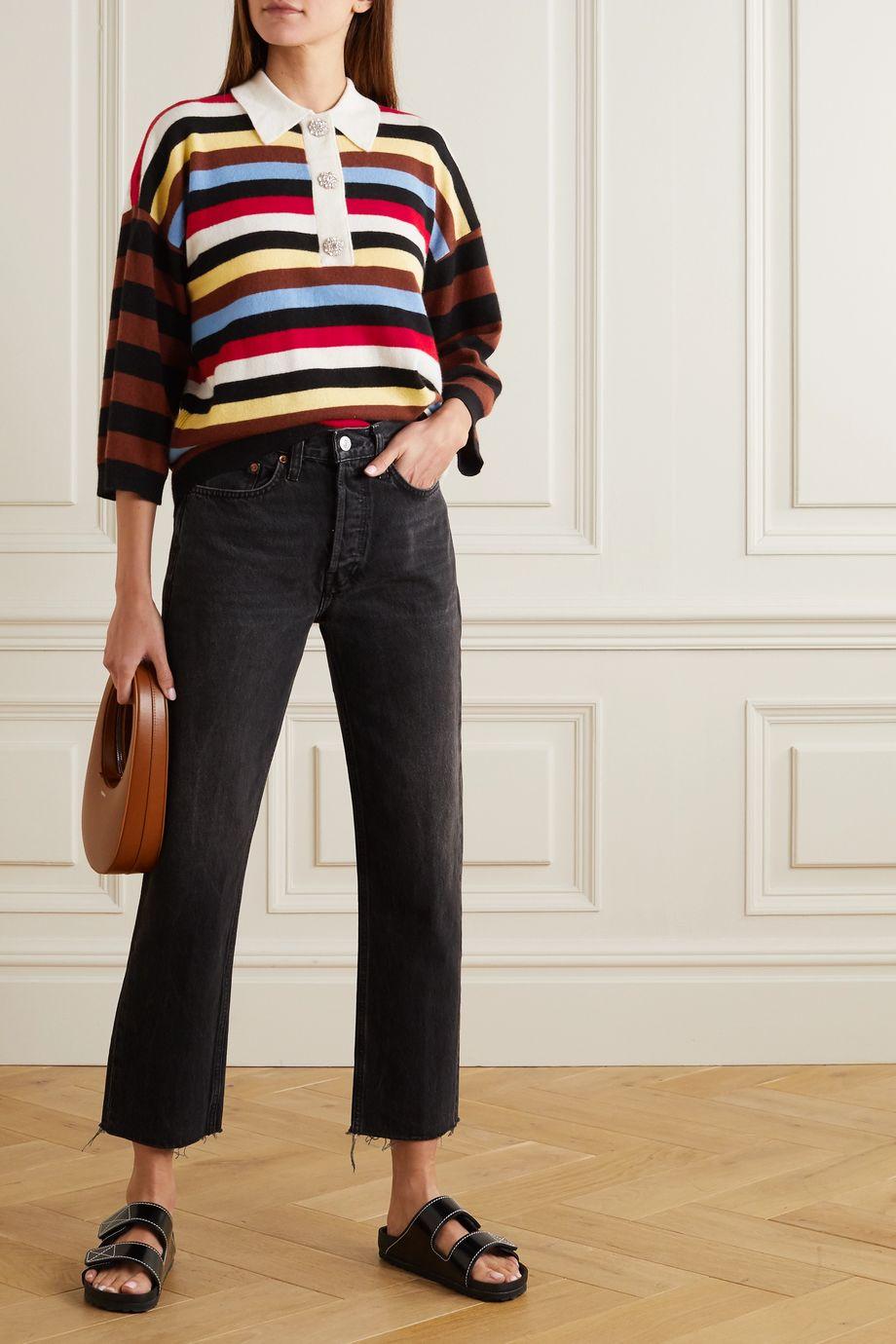 GANNI Crystal-embellished striped cashmere sweater