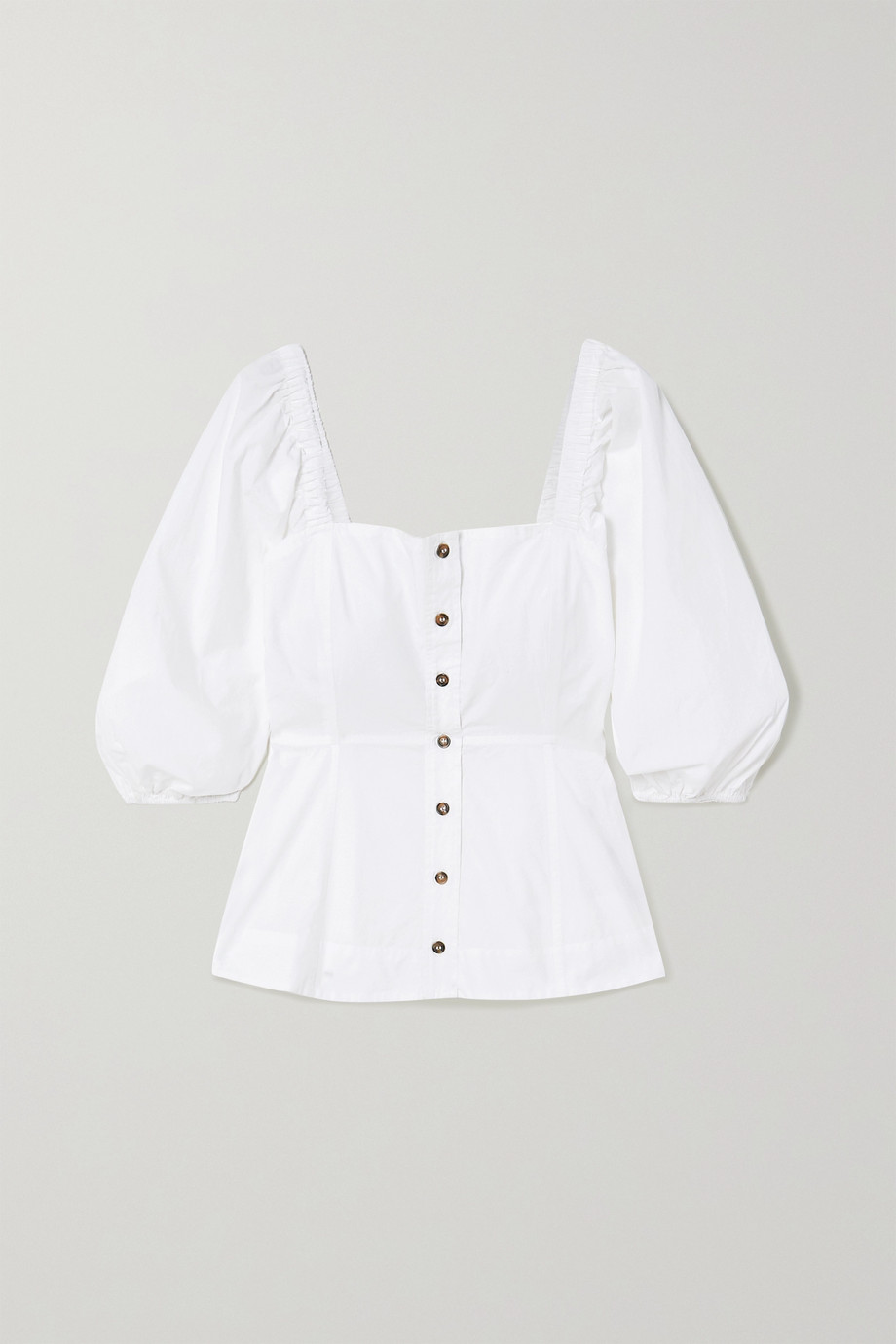 GANNI Organic cotton-poplin blouse
