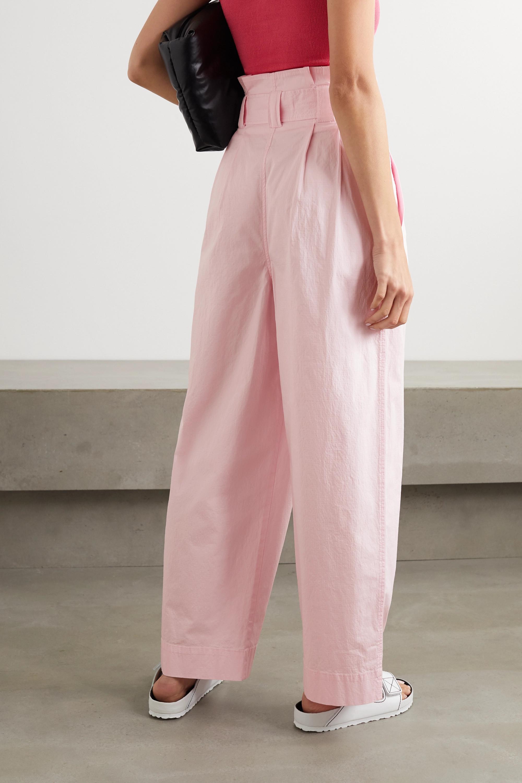 GANNI Hose mit weitem Bein aus Ripstop aus einer Baumwollmischung mit Gürtel