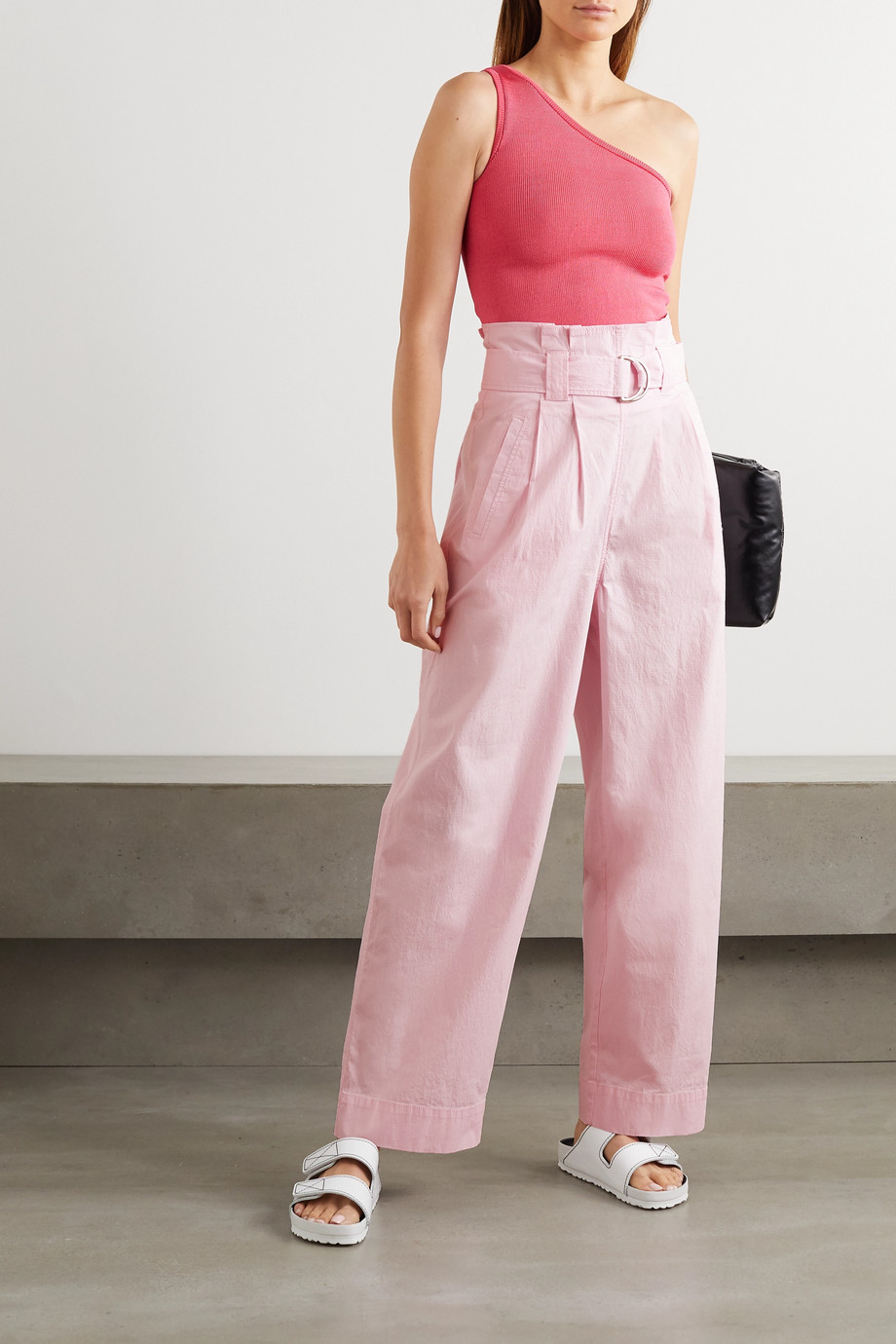 GANNI Belted cotton-blend ripstop wide-leg pants