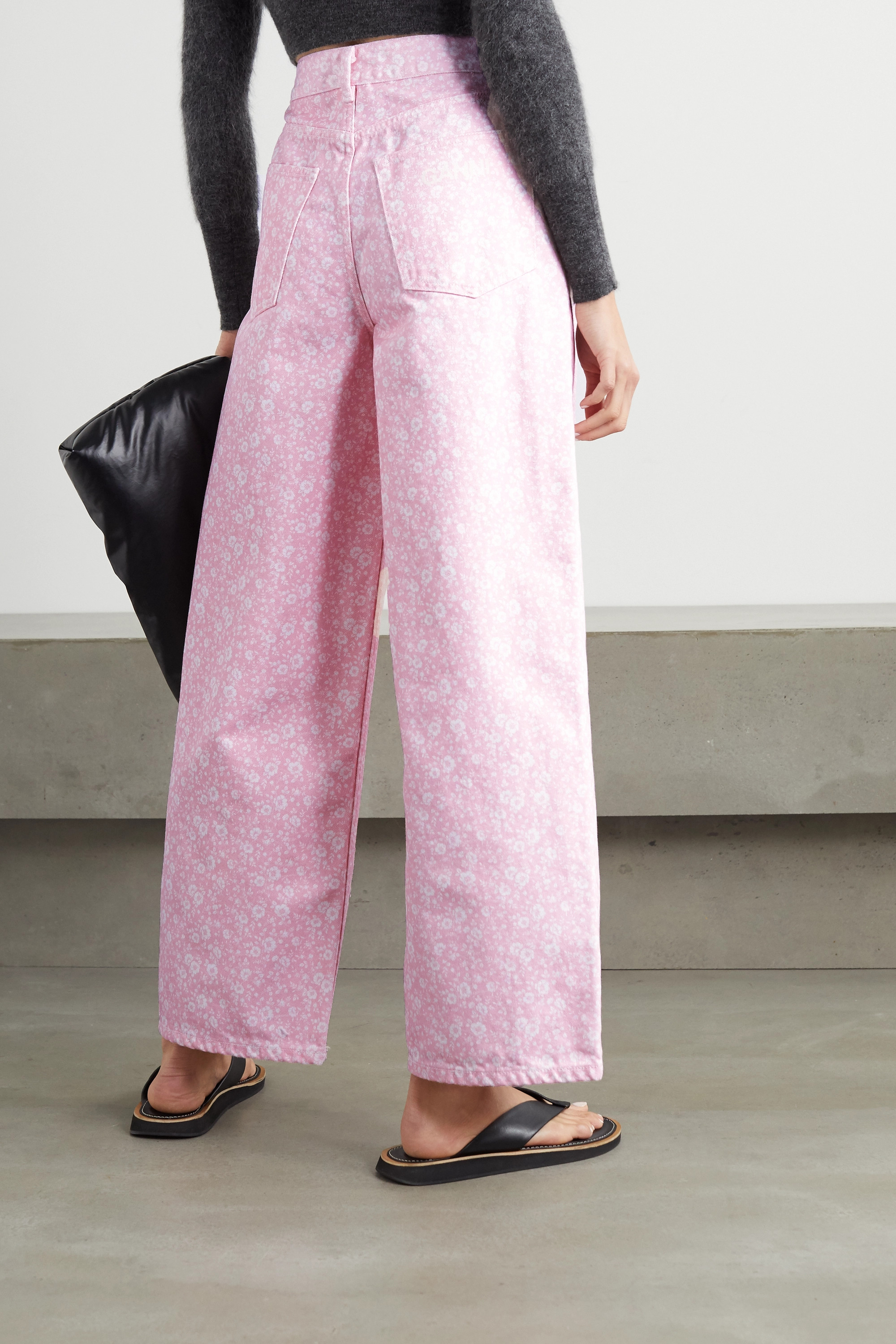 GANNI + NET SUSTAIN floral-print high-rise wide-leg jeans