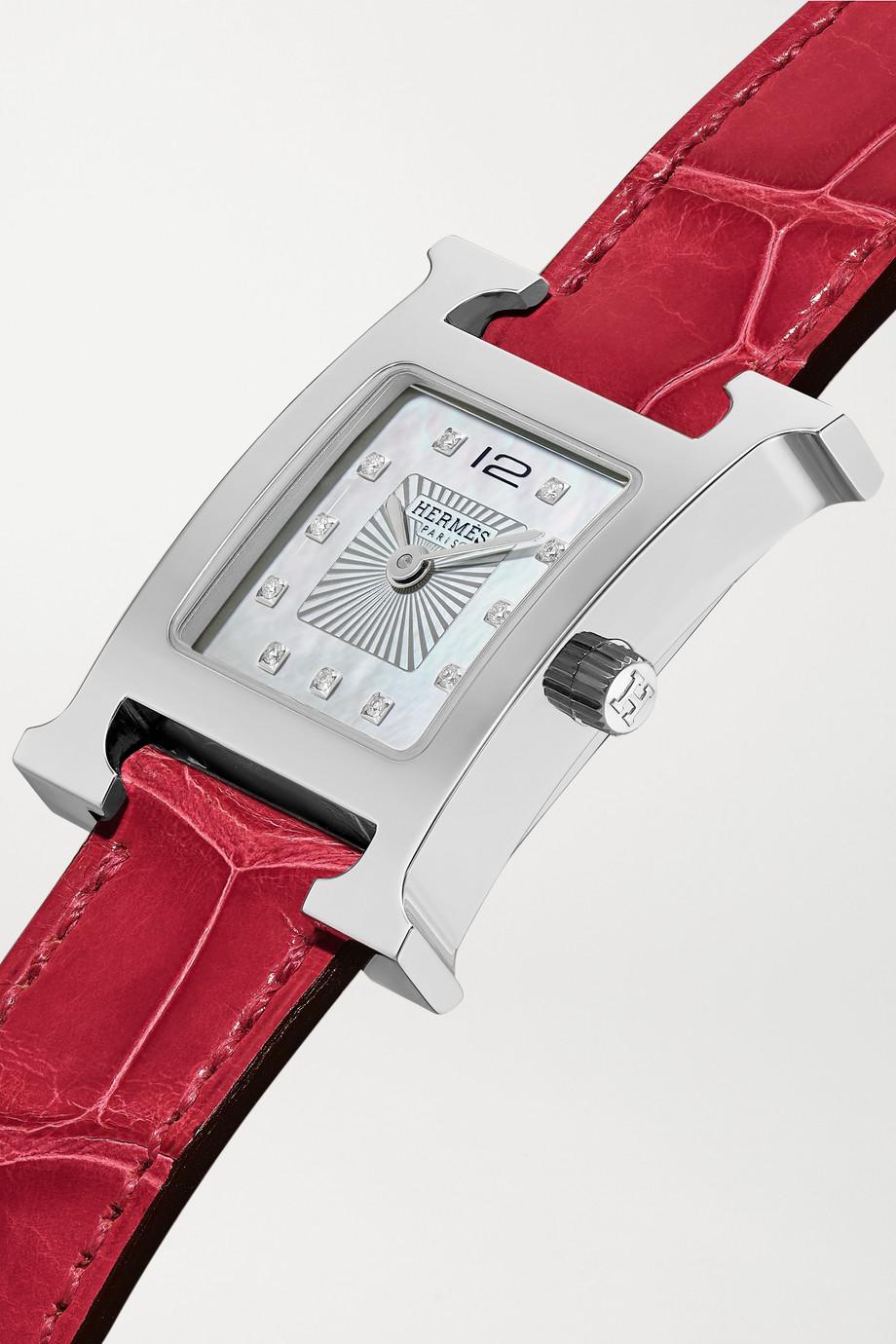 Hermès Timepieces Heure H 21 毫米精钢、钻石、珍珠母小号腕表(短吻鳄鱼皮表带)