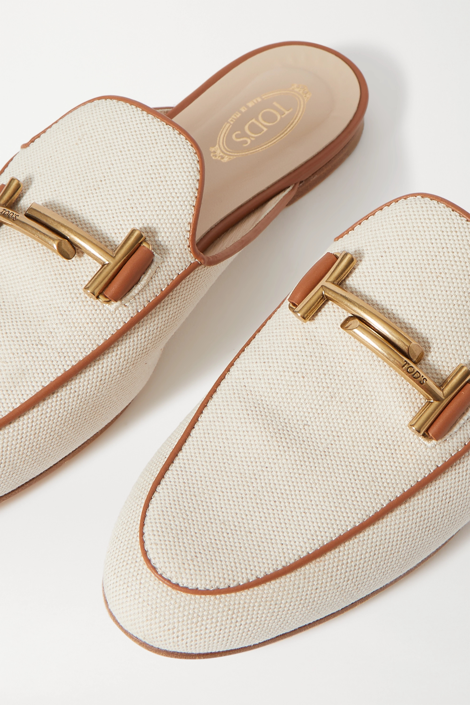 Tod's Leather-trimmed embellished canvas slippers