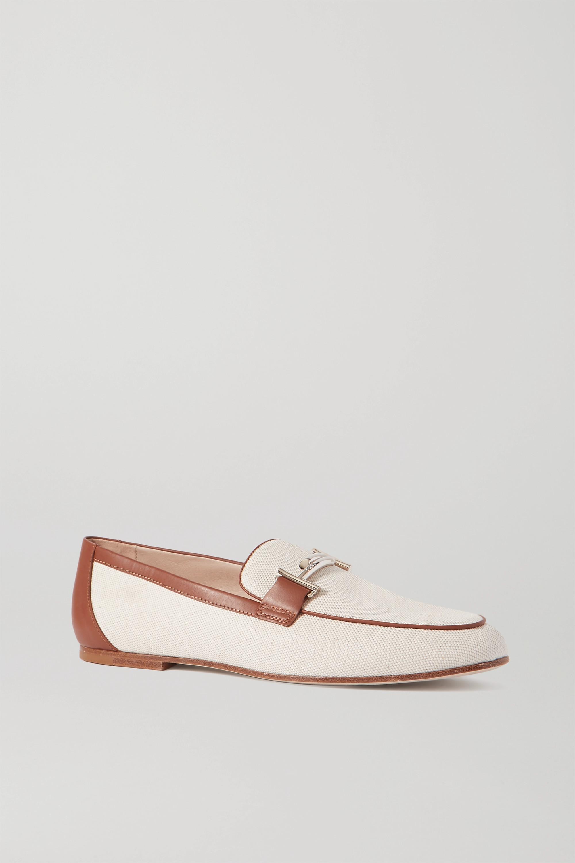 Off-white Leather-trimmed embellished
