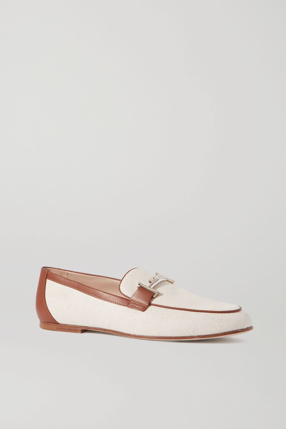 Tod's Leather-trimmed embellished canvas loafers