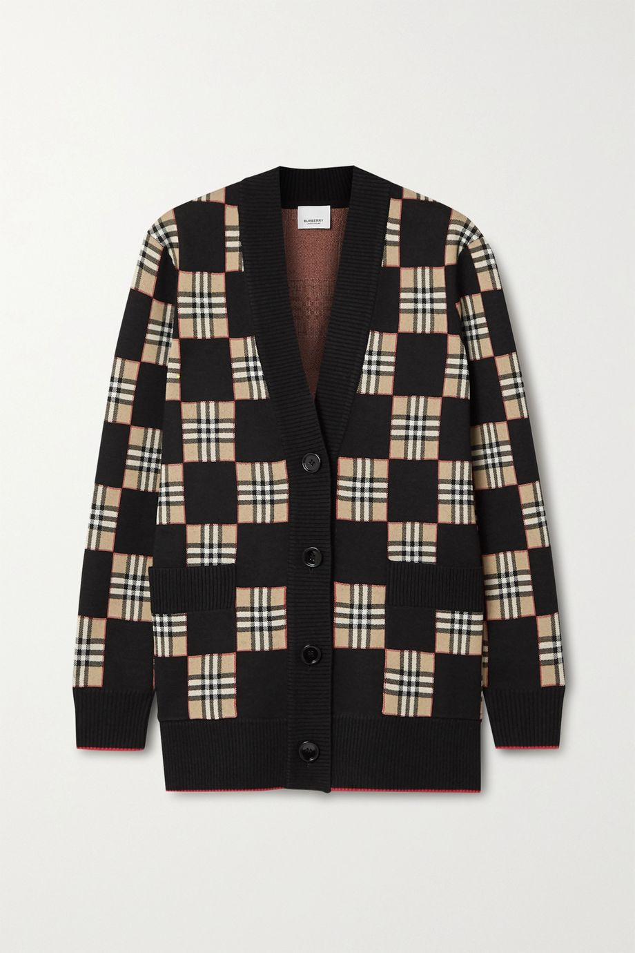 Burberry Checked intarsia wool-blend cardigan