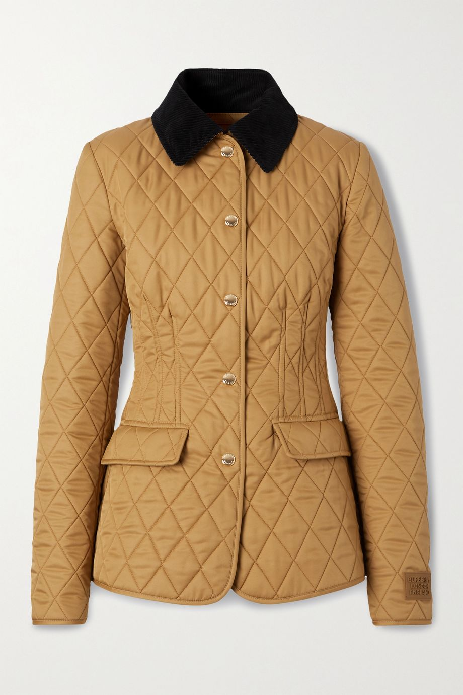 Burberry Corduroy-trimmed quilted twill jacket